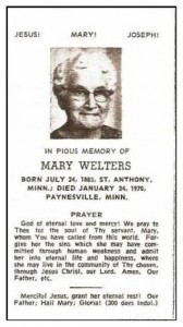 Mary Welters 1883-1970 Prayer card