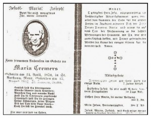 Prayer card Maria Gerads Cremers 1870-1942