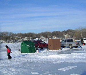 Ice fishing on Christmas Lake 2010