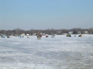 Ice fishing on Lake Minnetonka 2010