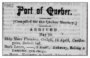 Quebec Mercury 29 May 1862 Bark Laura
